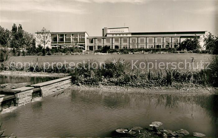 AK / Ansichtskarte Goeppingen Stadthalle Park Seerosenteich Goeppingen
