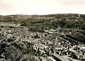 AK / Ansichtskarte Geislingen_Steige Blick ins Tal auf die Stadt mit oedenturm und Burgruine Helfenstein Geislingen_Steige