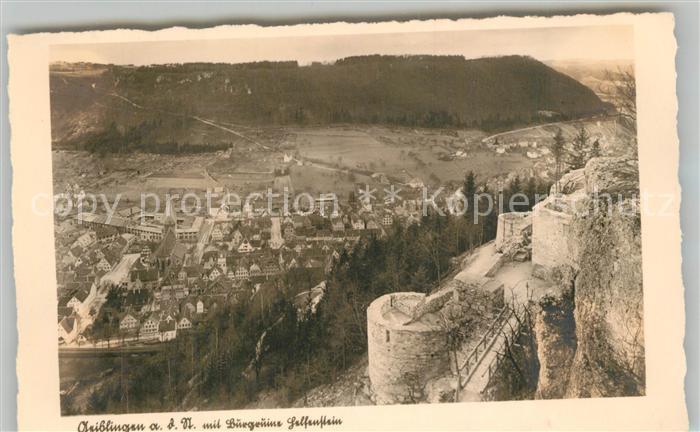 AK / Ansichtskarte Geislingen_Steige Panorama mit Burgruine Helfenstein Geislingen_Steige