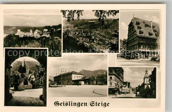 AK / Ansichtskarte Geislingen_Steige Panorama Burgruine Helfenstein Ortsmotive Kirche Bahnhof Geislingen_Steige