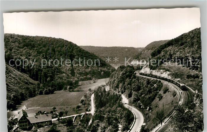 AK / Ansichtskarte Geislingen_Steige Landschaftspanorama Schwaebische Alb Eisenbahn Geislinger Steige Geislingen_Steige