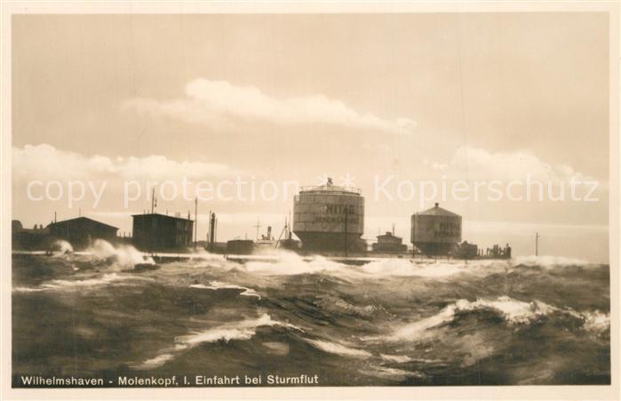 AK / Ansichtskarte Wilhelmshaven Molenkopf Einfahrt bei Sturmflut Wilhelmshaven 0