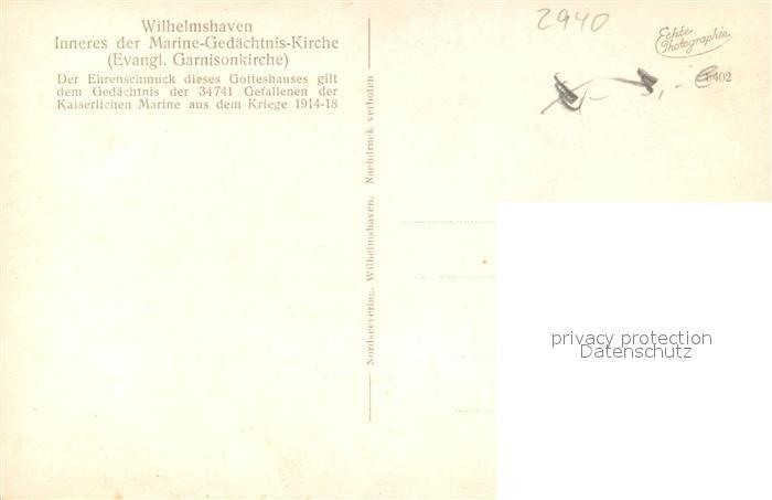 AK / Ansichtskarte Wilhelmshaven Marine Gedaechtnis Kirche Inneres Wilhelmshaven 1