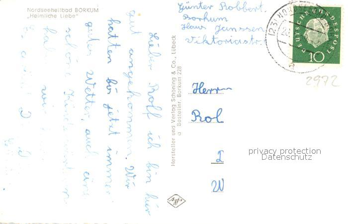 AK / Ansichtskarte Borkum_Nordseebad Heimliche Liebe Borkum_Nordseebad 1