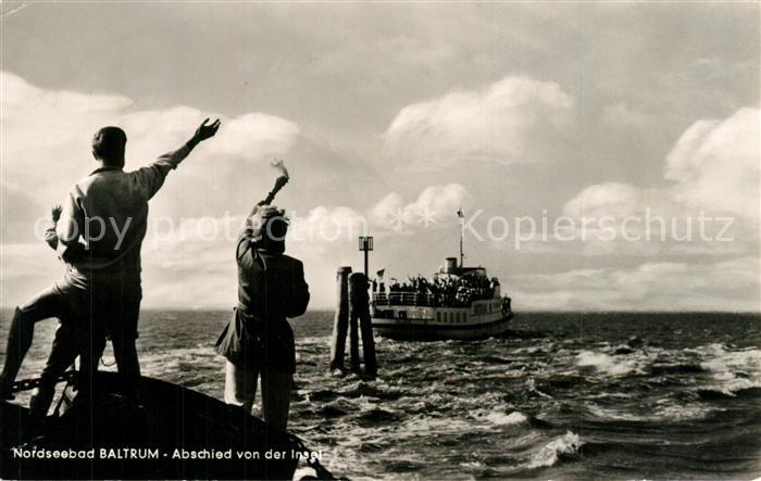 AK / Ansichtskarte Baltrum_Nordseebad Faehre beim Verlassen der Insel Baltrum_Nordseebad 0