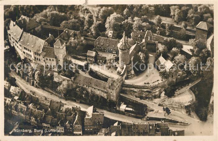 AK / Ansichtskarte Nuernberg Fliegeraufnahme mit Burg Nuernberg