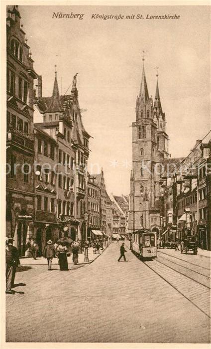 AK / Ansichtskarte Nuernberg Koenigstrasse mit St Lorenzkirche Nuernberg