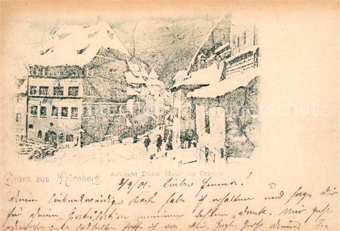 AK / Ansichtskarte Nuernberg Albrecht Duerer Haus im Schnee Nuernberg 0
