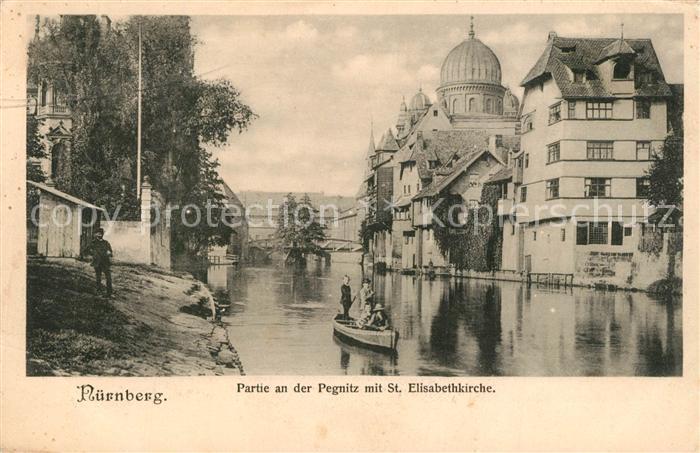 AK / Ansichtskarte Nuernberg Partie an der Pegnitz mit St Elisabethkirche Nuernberg