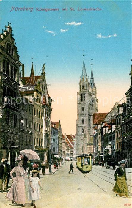AK / Ansichtskarte Nuernberg Koenigstrasse mit St Lorenzkirche Nuernberg 0
