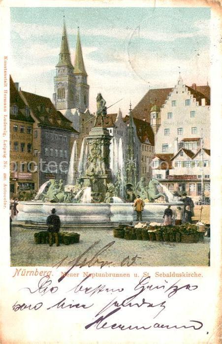 AK / Ansichtskarte Nuernberg Neptunbrunnen mit St Sebalduskirche Nuernberg 0