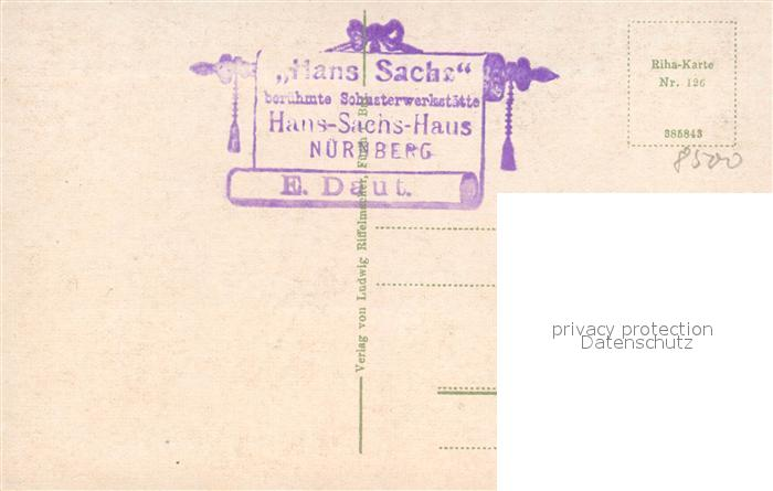 AK / Ansichtskarte Nuernberg Hans Sachs Wohnhaus Vorder und Rueckseite Nuernberg 1