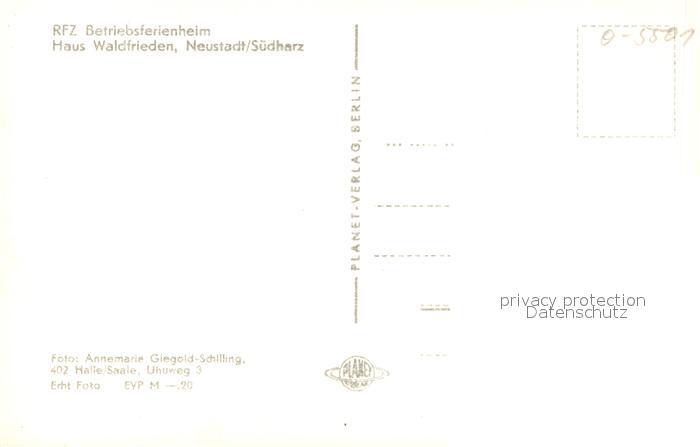 AK / Ansichtskarte Neustadt_Harz RFZ Betriebsferienheim Haus Waldfrieden Neustadt_Harz 1