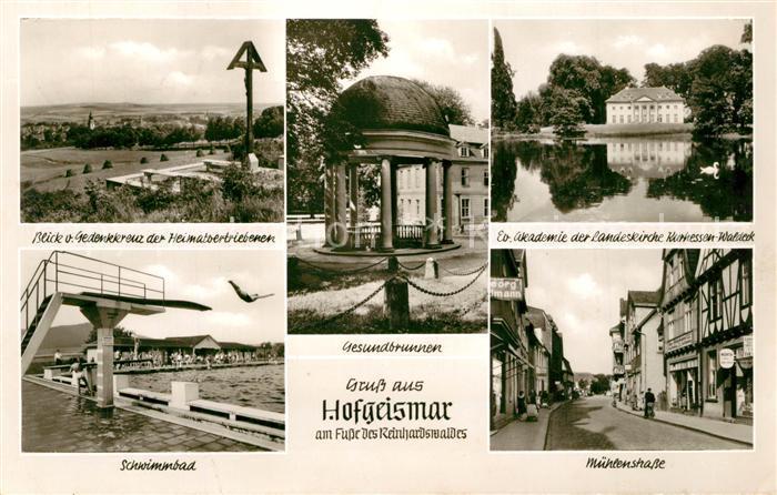 AK / Ansichtskarte Hofgeismar Wegekreuz Gesundbrunnen Ev Akademie Schwimmba Muehlenstrasse Hofgeismar 0