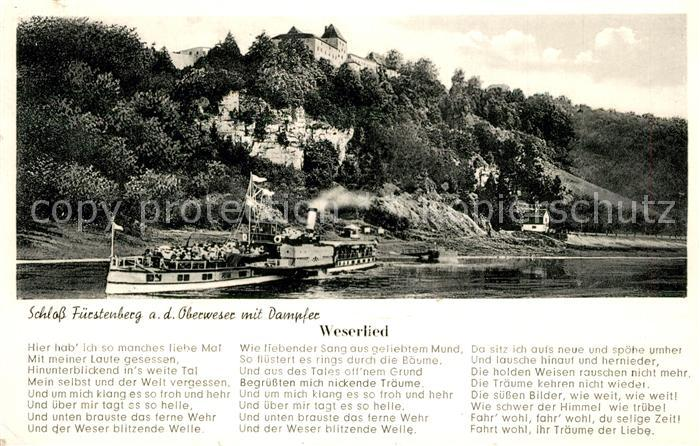 AK / Ansichtskarte Hoexter_Weser Schloss Fuerstenberg Ausflugsdampfer Weserlied Hoexter Weser 0