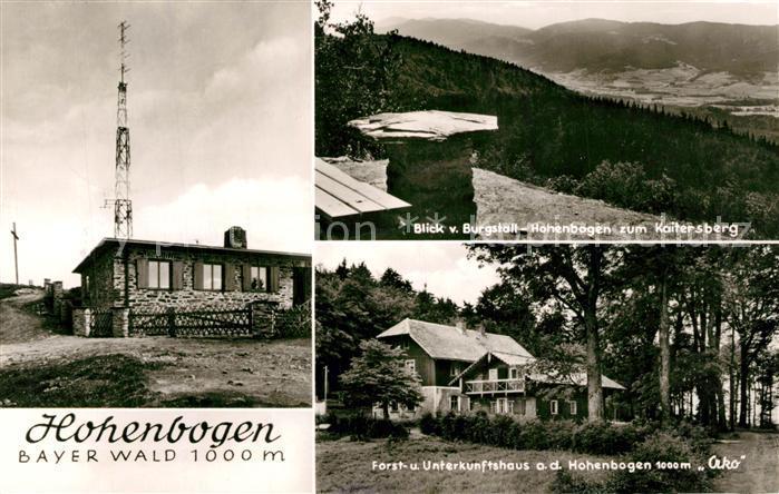 AK / Ansichtskarte Rimbach_Bayrischer_Wald Burgstall Hohenbogen Kaitersberg Forst und Unterkunftshaus Rimbach_Bayrischer_Wald