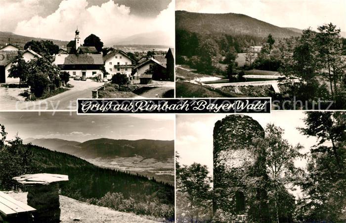 AK / Ansichtskarte Rimbach_Bayrischer_Wald Ortsblick Bad Burgstall Hohenbogen Kaitersberg Burg Lichtenegg Rimbach_Bayrischer_Wald