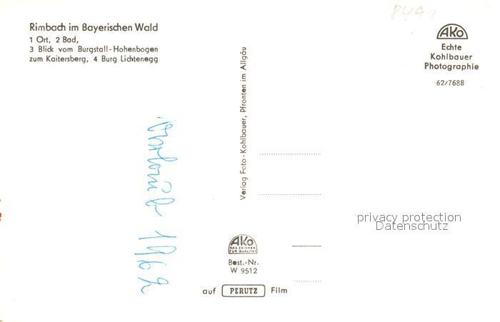 AK / Ansichtskarte Rimbach_Bayrischer_Wald Ortsblick Bad Burgstall Hohenbogen Kaitersberg Burg Lichtenegg Rimbach_Bayrischer_Wald 1