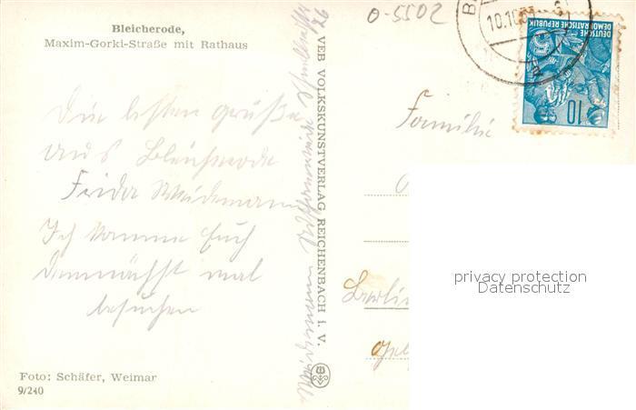 AK / Ansichtskarte Bleicherode Maxim Gorki Strasse mit Rathaus Bleicherode 1