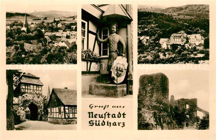 AK / Ansichtskarte Neustadt_Harz Panorama Roland Schloss Stadttor Ruine Neustadt_Harz 0