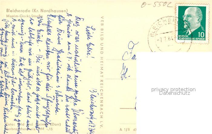AK / Ansichtskarte Bleicherode Maxim Gorki Strasse Bleicherode 1