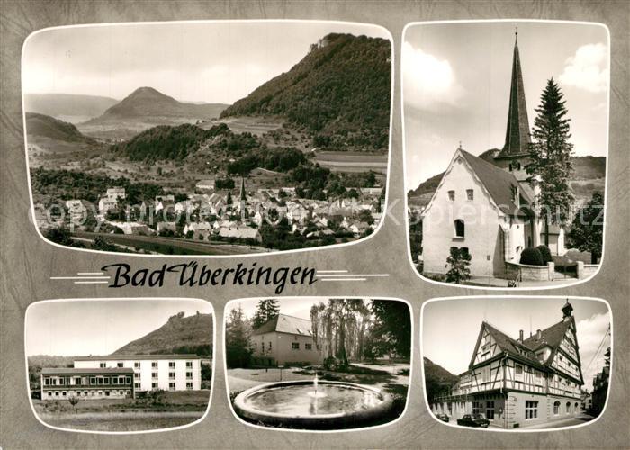 AK / Ansichtskarte Bad_ueberkingen Landschaftspanorama Kirche Fachwerkhaus Brunnen Hotelfachschule Bromsilber Bad_ueberkingen