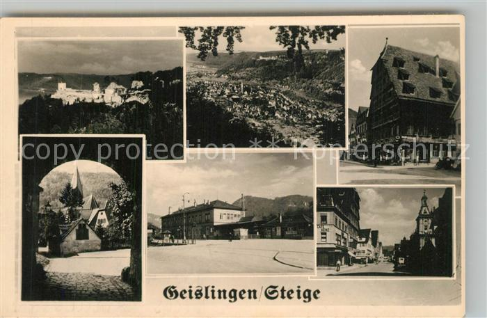 AK / Ansichtskarte Geislingen_Steige Panorama Burgruine Helfenstein Alter Bauhof Heimatmuseum Bahnhof Geislingen_Steige