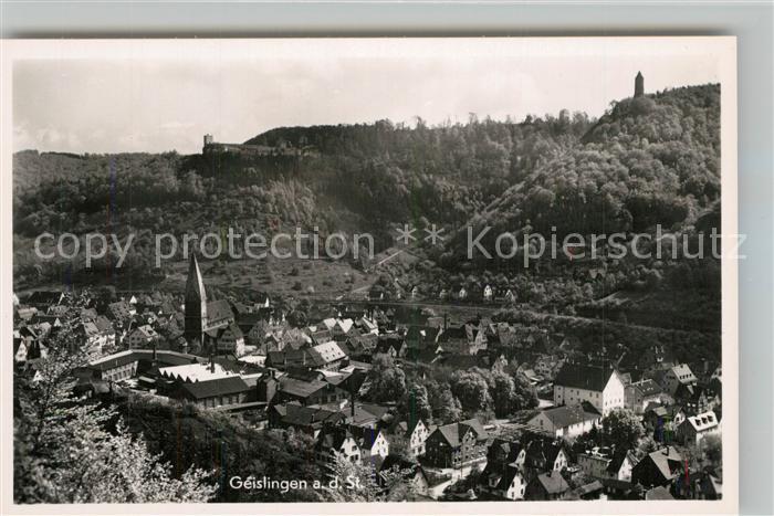 AK / Ansichtskarte Geislingen_Steige Stadtpanorama mit oedenturm und Burgruine Helfenstein Geislingen_Steige 0