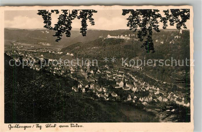 AK / Ansichtskarte Geislingen_Steige Panorama mit oedenturm und Burgruine Helfenstein Geislingen_Steige