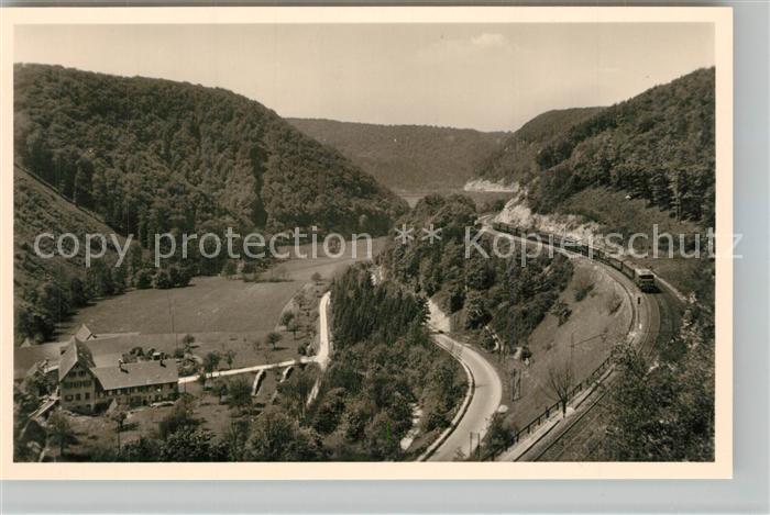 AK / Ansichtskarte Geislingen_Steige Panorama Blick ins Tal Eisenbahn Geislinger Steige Schwaebische Alb Geislingen_Steige