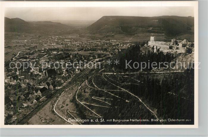 AK / Ansichtskarte Geislingen_Steige Panorama Blick vom oedenturm aus Burg Helfenstein Schwaebische Alb Geislingen_Steige