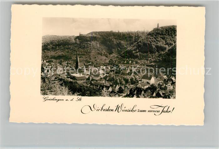 AK / Ansichtskarte Geislingen_Steige Stadtpanorama mit oedenturm und Burgruine Helfenstein Neujahrskarte Geislingen_Steige