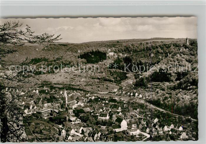 AK / Ansichtskarte Geislingen_Steige Panorama Blick ins Tal mit oedenturm Burgruine Helfenstein Schwaebische Alb Geislingen_Steige