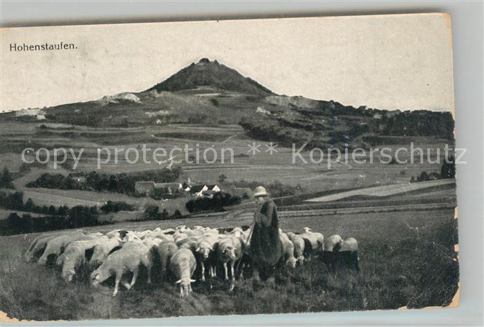 AK / Ansichtskarte Goeppingen Schaefer mit Schafherde Blick zum Berg Hohenstaufen Goeppingen 0