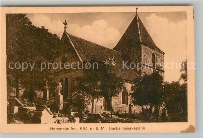 AK / Ansichtskarte Hohenstaufen Barbarossakapelle Friedhof Hohenstaufen