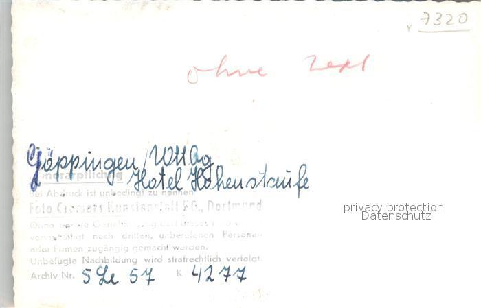 AK / Ansichtskarte Goeppingen Hotel Hohenstaufen Fremdenzimmer Goeppingen 1