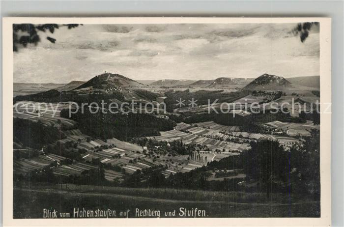 AK / Ansichtskarte Goeppingen Landschaftspanorama Blick vom Hohenstaufen auf Rechberg und Stuifen Goeppingen