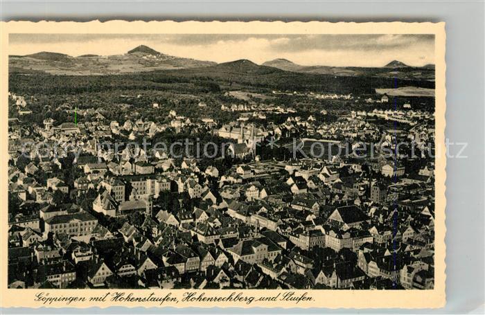 AK / Ansichtskarte Goeppingen mit Kaiserbergen Stuifen Hohenstaufen Hohenrechberg Fliegeraufnahme Goeppingen