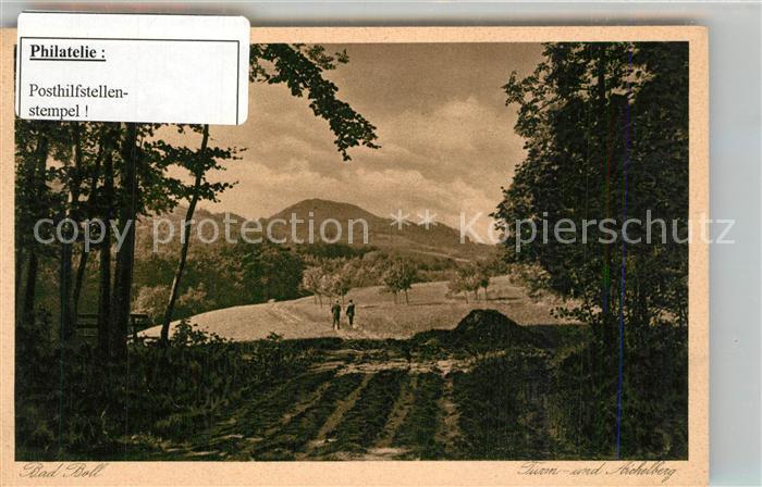 AK / Ansichtskarte Bad_Boll Landschaftspanorama mit Turmberg Aichelberg Stempel Posthilfstelle Bad_Boll