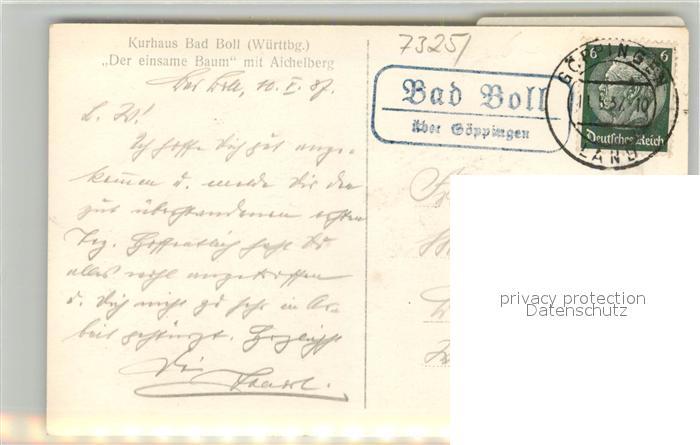 AK / Ansichtskarte Bad_Boll Der einsame Baum mit Aichelberg Stempel Posthilfstelle Bad_Boll 1
