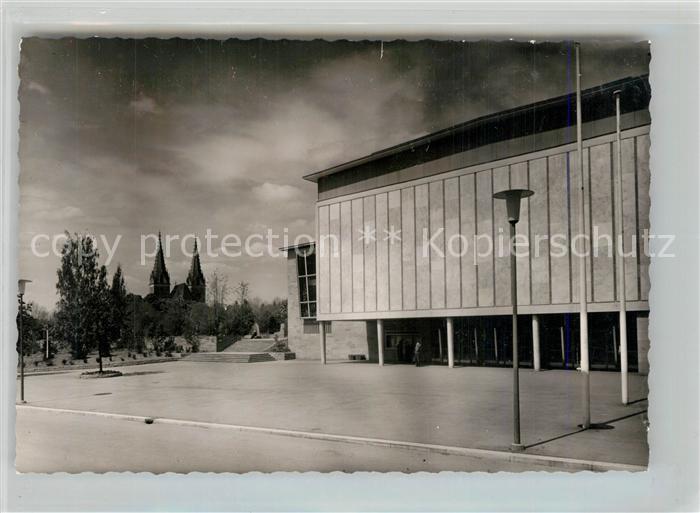 AK / Ansichtskarte Goeppingen Stadthalle Blick zur Oberhofenkirche Goeppingen
