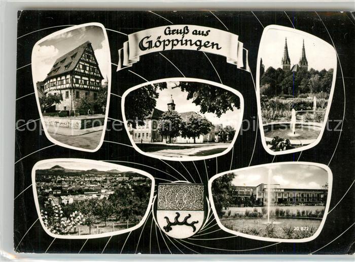 AK / Ansichtskarte Goeppingen Fachwerkhaus Stadtpanorama Platz Oberhofenkirche Stadthalle Wappen Goeppingen 0