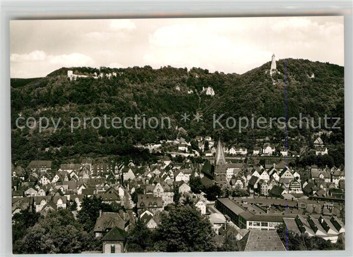 AK / Ansichtskarte Geislingen_Steige Stadtpanorama mit oedenturm und Burgruine Helfenstein Schwaebische Alb Geislingen_Steige