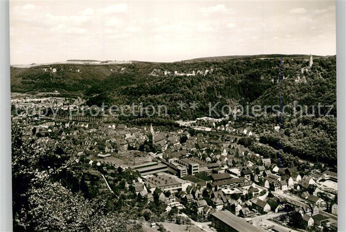 AK / Ansichtskarte Geislingen_Steige Panorama mit oedenturm und Burgruine Helfenstein Schwaebische Alb Geislingen_Steige