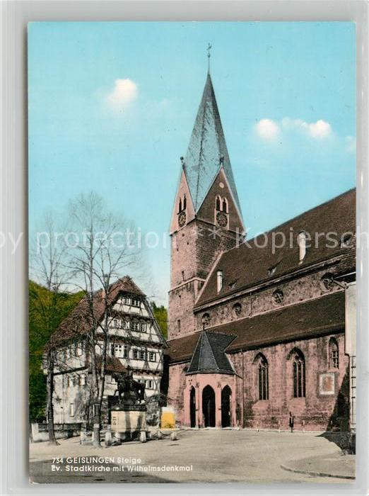 AK / Ansichtskarte Geislingen_Steige Stadtkirche mit Wilhelmsdenkmal Geislingen_Steige 0