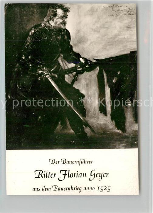 AK / Ansichtskarte Geislingen_Steige Bauernfuehrer Ritter Florian Geyer Bauernkrieg anno 1525 Kuenstlerkarte Raststaette Obere Roggenmuehle Bromsilber Geislingen_Steige 0