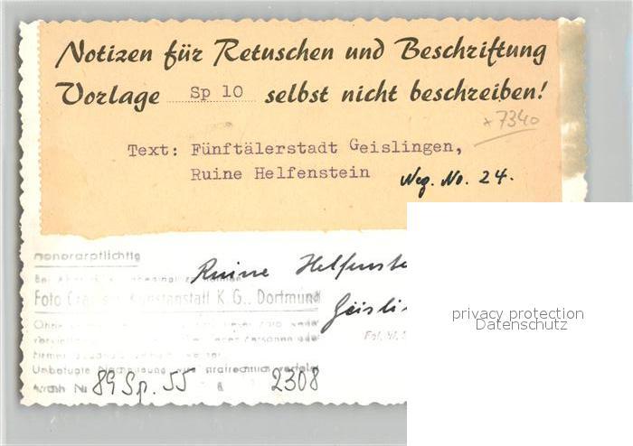 AK / Ansichtskarte Geislingen_Steige Burgruine Helfenstein Fuenftaelerstadt Schwaebische Alb Geislingen_Steige 1