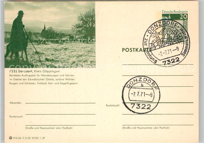 AK / Ansichtskarte Donzdorf Schaefer mit Schafherde Kirche Landschaftspanorama Schwaebische Alb Donzdorf 0