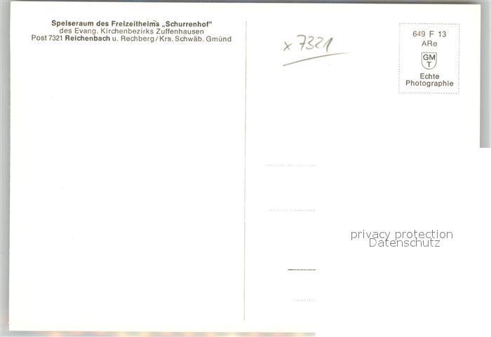 AK / Ansichtskarte Reichenbach_Donzdorf Freizeitheim Schurrenhof Speiseraum Reichenbach Donzdorf 1