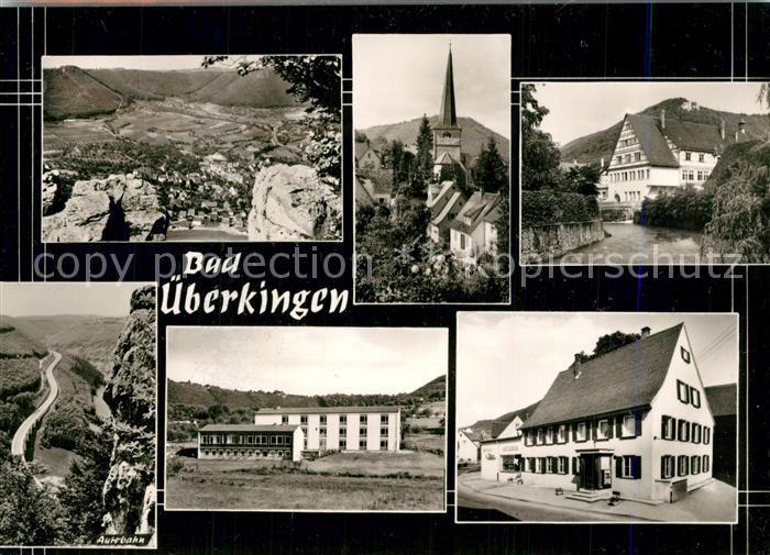 AK / Ansichtskarte Bad_ueberkingen Panorama Kirche Partie am Fluss Hotelfachschule Autobahn Felsen Bromsilber Bad_ueberkingen